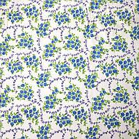 Отрез ткани, фланель, цвет белый в голубые розочки