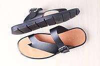 Мужские кожаные тапочки черного цвета