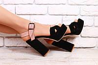 Босоножки женские, замшевые, на высоком устойчивом каблуке, бежево-черные