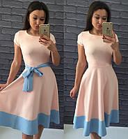 Платье Беби-дол пудра с голубым