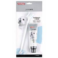 Набор Karlie-Flamingo Petcare Toothpaste & Toothbrush для чистки зубов собак, паста и щетка, 85 г