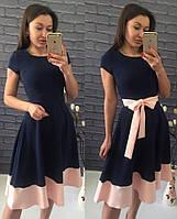 Платье Беби-дол синее с пудрой