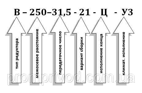 Схема условных обозначений редуктора В-250-31,5