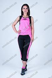 Женский спортивный костюм майка + бриджи розовый