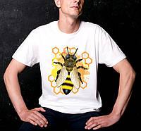 Футболка мужская белая с принтом Пчела