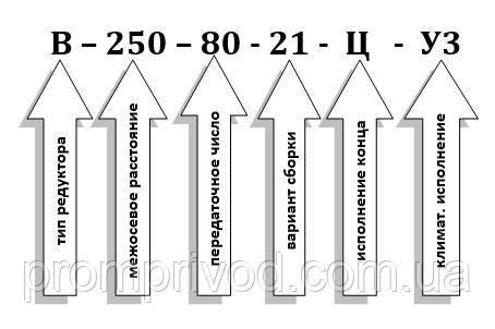 Схема условных обозначений редуктора В-250-80