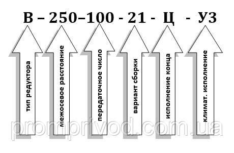 Схема условных обозначений редуктора В-250-100
