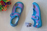 Голубые польские тапочки на девочку детская текстильная обувь тм 3 F р.25,26,27,28,29