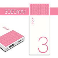 Портативное ЗУ Golf HIVE3 3000mAh бело-розовый