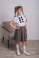 Кофта школьная белая с черными бантиками