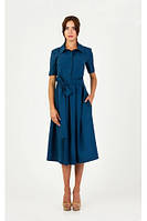 Женское синее платье сафари под пояс р. XS-M
