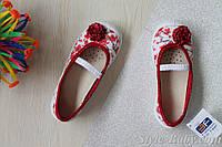 Польские тапочки на девочку с красным бантом текстильная обувь тм 3 F р.26,27,30,31