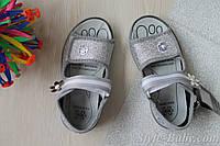 Сербренные текстильные босоножки на девочку польская обувь тм 3 F р.24,26,27,28