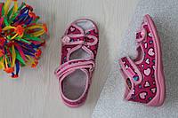 Босоножки на девочку ViGGaMi в сердечка текстильная польская детская обувь р.18,19,20,23,24,25,26,27