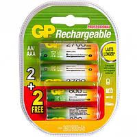 Аккумулятор GP Rechargeable NiMH 1.2V комплект: 2шт AA(2700mAh) + 2шт AAA(800mAh)
