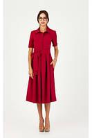 Платье вишневого цвета под пояс р. XS-M