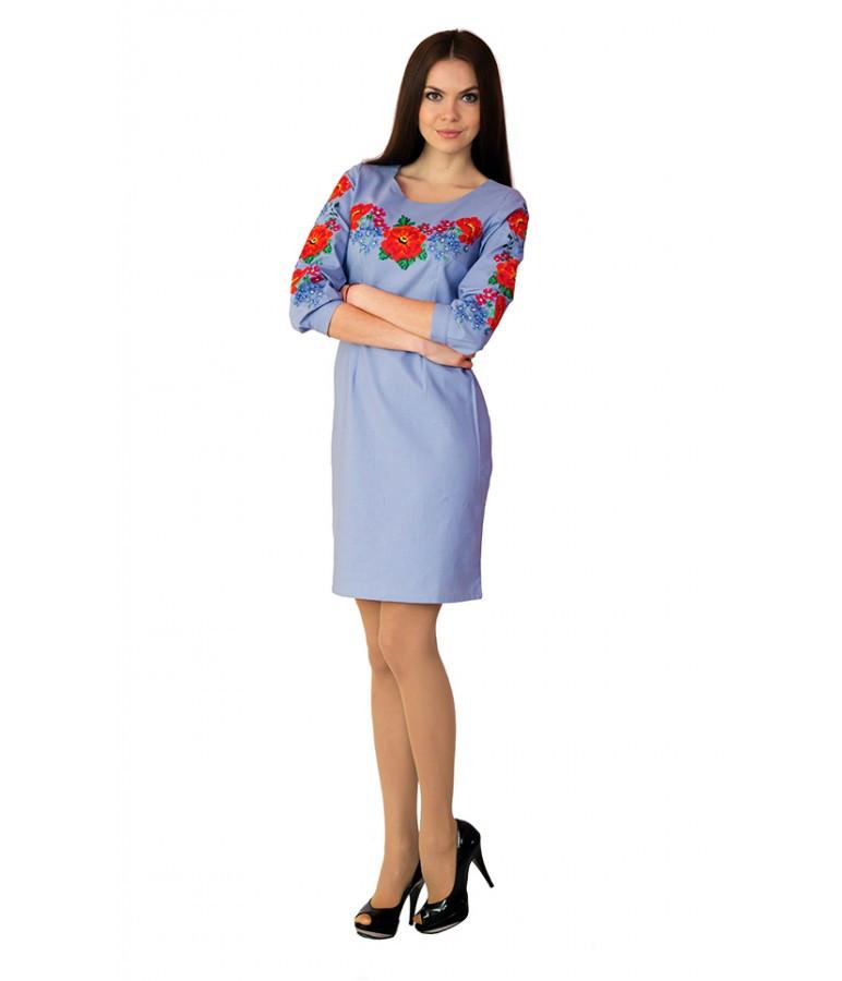 560d5ad4467010 Голуба сукня вишита хрестиком. Плаття вишите хрестиком. Вишита жіноча сукня.  Вишиванки жіночі.