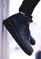 Мужские черные кроссовки найк Nike air force, фото 1