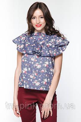 "Блуза квадратна кокетка батист квіти ""Ніагара"""