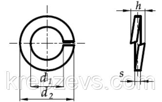 Гровер нержавеющий Ф14 по ГОСТ 6402 - чертеж