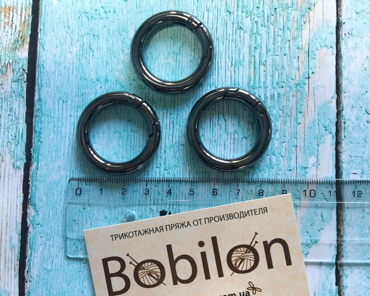 Кольцо-карабин в цвете черное серебро 25мм