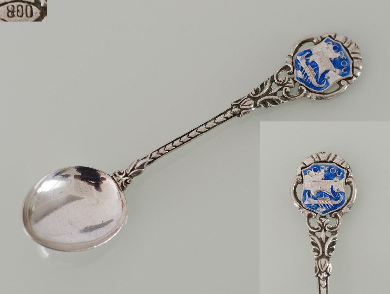 Винтажная сувенирная ложка, серебро 800 пробы, Corfou, Греция