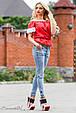 Блуза 1813 красный-белый, фото 2