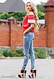 Блуза 1813 красный-белый, фото 3