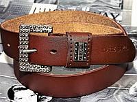 Ремень мужской кожаный джинсовый ремень пояс Diesel коричневый