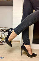Элегантные женские туфли-лодочки искусственная кожа рептилия лак. Цвет черный