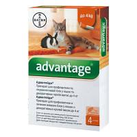Bayer Advantage 40 - от блох для кошек и декоративных кроликов весом менее 4 кг (1 пипетка)
