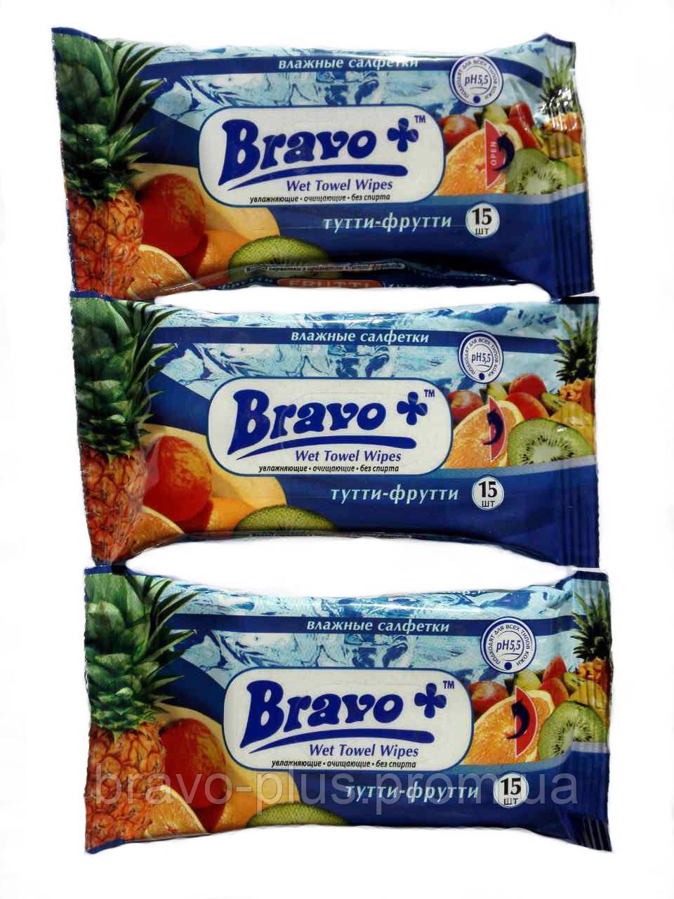 Влажные салфетки Bravo+ тутти-фрутти 15 шт. ( Bravo-plus Браво )