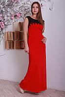 Красное нарядное женское платье в пол