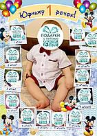 """Плакат с фото на годик """"Микки Маус"""" (голубой)"""