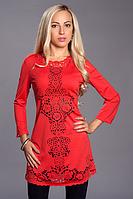Нарядное женское платье с перфорацией виде цветочного узора