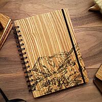 """Деревянный блокнот """"Посёлок в горах"""" А6 (бумага 105х148 мм), фото 1"""