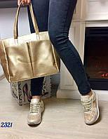 Стильные женские кроссовки материал эко кожа, вставки текстиль люрекс. Цвет золото