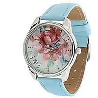 """Часы женские наручные """"Цветение"""" голубые с цветами"""