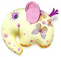 Антистрессовая подушка-игрушка Слоник Руби 18х23 желтый