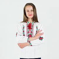 Детская вышиванка с Розами на домотканом полотне