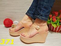 Босоножки женские силиконовые на платформе бежевые, балетки, женская летняя обувь