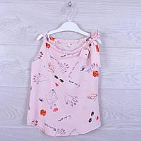"""Детская блузка """"Леди"""" с бантиком на плече для девочек. 116-134 см. Пудровая. Оптом"""