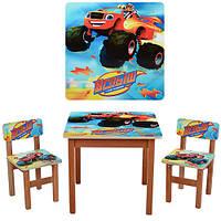 Детский деревяный столик Вспыш  F196 с стульчиками