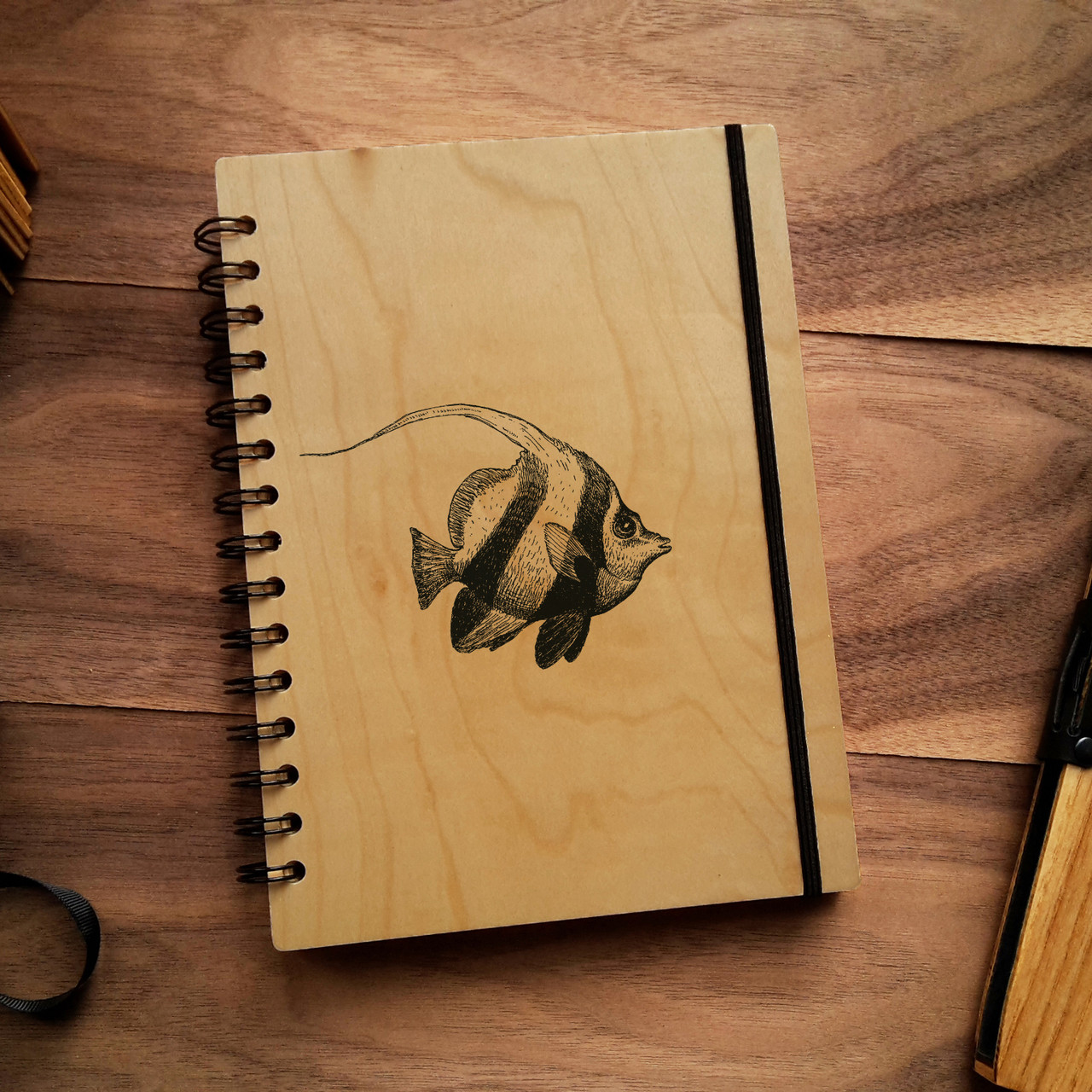"Деревянный блокнот ""Рыбка"" А6 (бумага 105х148 мм), фото 1"