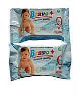 Влажные салфетки Bravo+ для детей, без запаха, большая упаковка