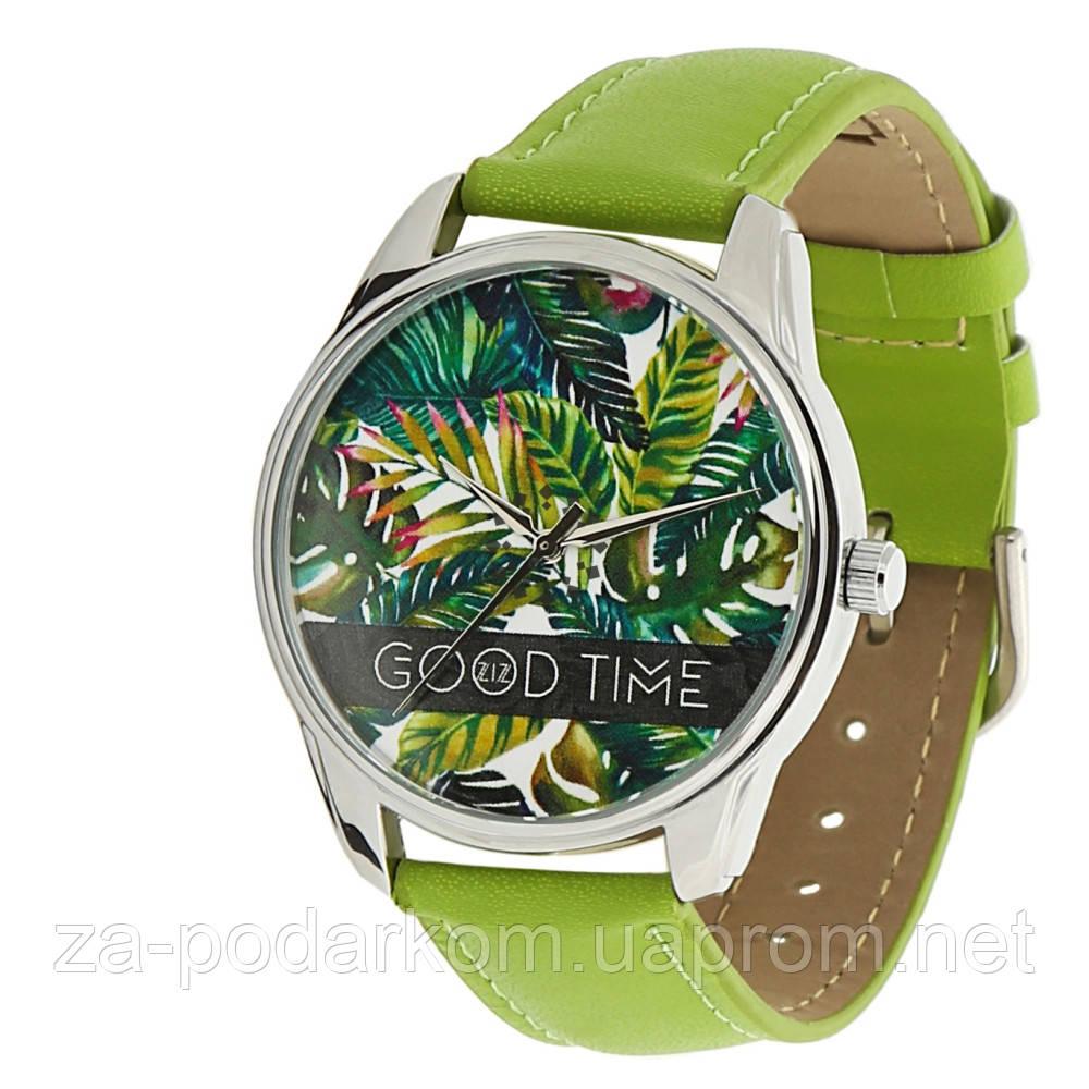 """Часы наручные """"Пальмовые листья"""" зеленые"""