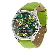"""Часы наручные """"Пальмовые листья"""" унисекс зеленые"""