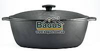 Гусятница (утятница) чугунная 8л с чугунной крышкой, чугунная посуда Биол (0608)