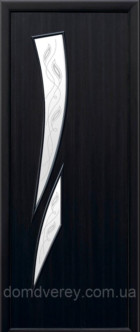 Двери межкомнатные Новый Стиль, МОДЕРН, модель Камея Экошпон, со стеклом сатин и рисунком Р3