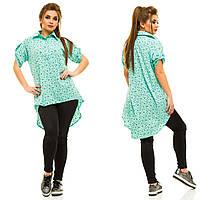 Женская батальная рубашка-туника. 4 цвета
